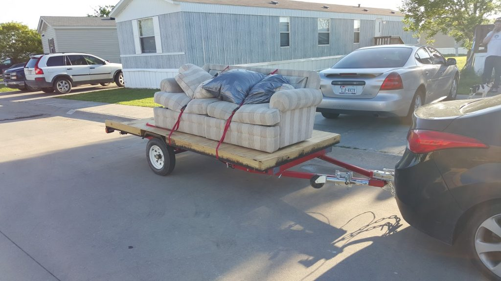 trailer with a sofa