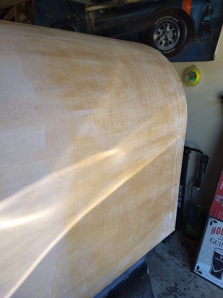 sanding progression, finer grit on left vs right.
