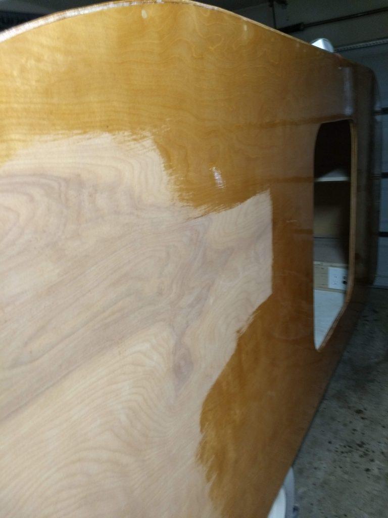 the sanding payed off, the spar urethane finish is bringing back the shine.