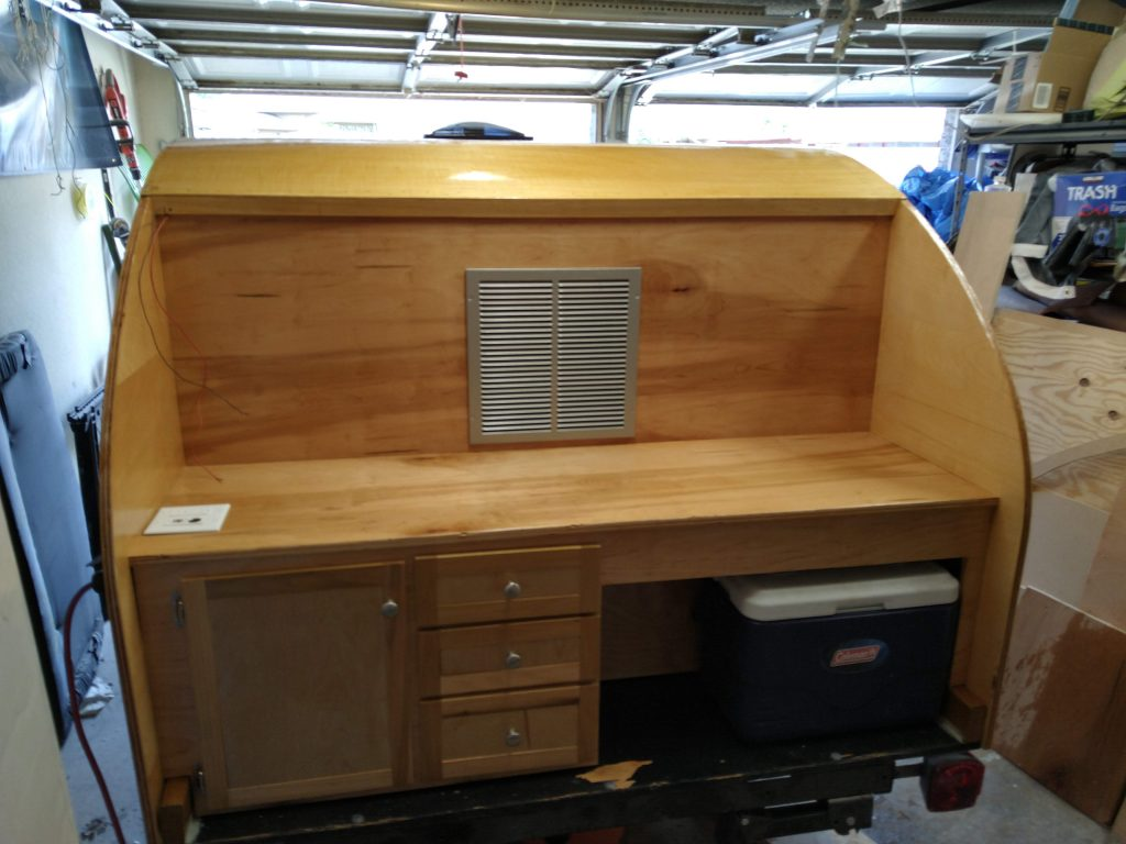 Galley after sanding, staining, 3 coats of polyurethane.